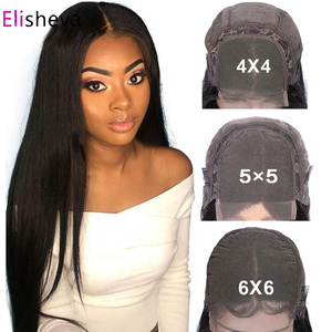 6x6 Closure Wigs For Black Women 4x4 5x5 Lace Closure Wig PrePlucked Peruvian Straight Glueless Lace Front Human Hair Wigs Remy(China)