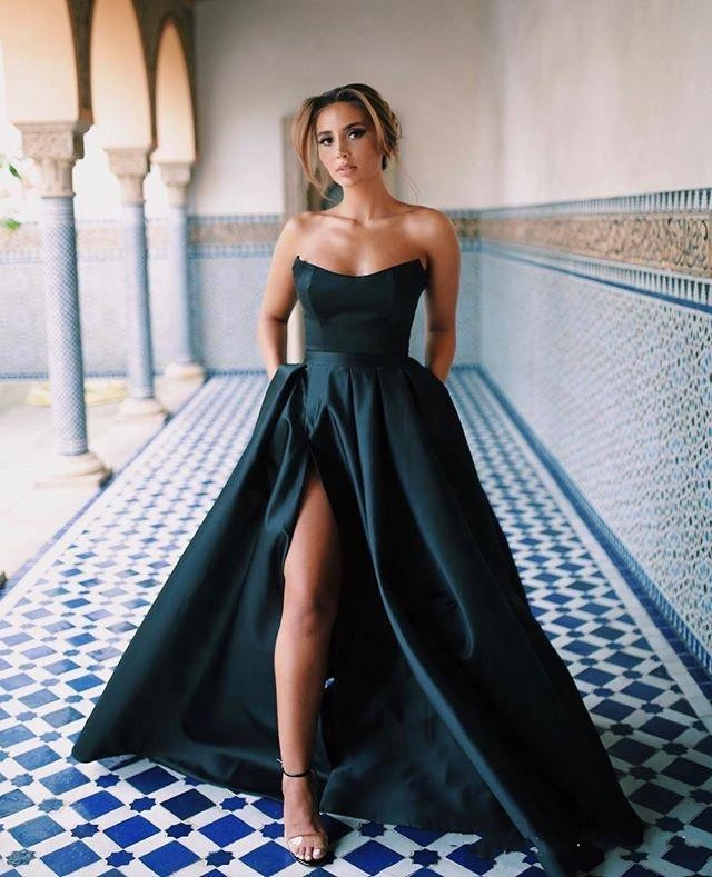 New Sexy Elegant A Line Prom Dresses Sweetheart High Side Slit Stain Pleats Evening Gowns Formal Dress Ogstuff Vestidos