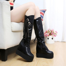 2019 New winter Women Mid calf Boots Warm winter boots Wedges Increase within shoes Thick Heels Platform shoes med calf boots цены онлайн