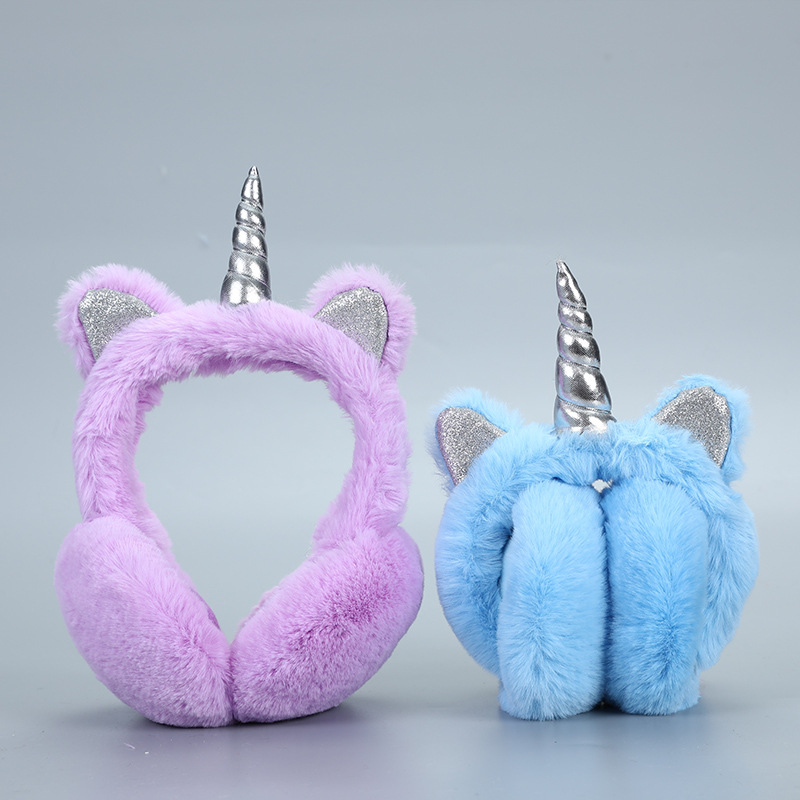 Warm Unicorn Headphones For Girls Winter Fur Ear Muffs For Women Winter Accessories Ear Cover Warmers Women Christmas Headband