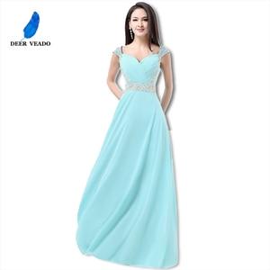 Image 5 - DEERVEADO A Line Cap Sleeve Sweetheart Chiffon Plus Size Long Evening Dress Gown Elegant Formal Dresses Robe De Soiree S321