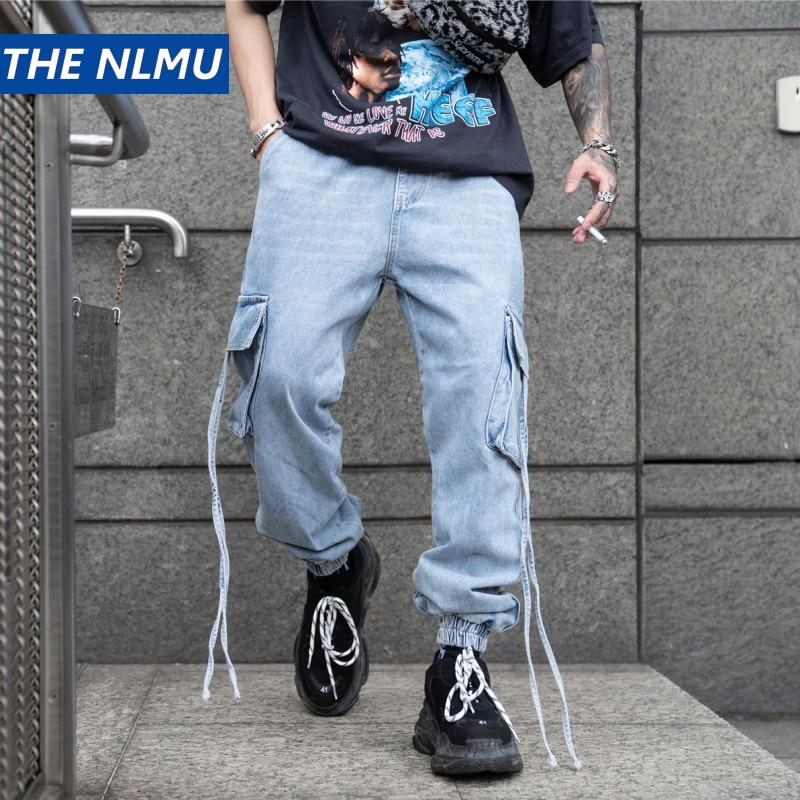 Ribbon Denim Pants Men Streetwear Jeans Solid Solor Pencil Pants Hip Hop Vintage Multi pocket Trousers Male Blue HZ167 in Jeans from Men 39 s Clothing