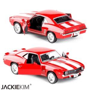 Image 3 - 1/36 ölçekli abd 1969 Camaro SS Vintage mat siyah Diecast Metal araba modeli oyuncak koleksiyonu hediye için çocuklar