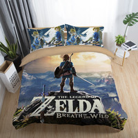 3d zelda fighter switch game popular chidren bedding set king queen double full twin single size bed linen set