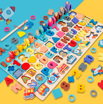 Child Math Early Learning Toys Puzzle Board Count Number Alphabet Cognition Play Games Montessori Educational Wooden Toy For Kid montessori math toy wooden fruit number math game sticks educational toy puzzle learning teaching aids set child birthday gift