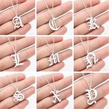 Smjel colar gótico letra inicial, joias em aço inoxidável, antigo, inglês, colares, letras, alfabeto, joias personalizadas