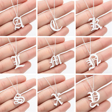 SMJEL-collar gótico con letra inicial, joyería de acero inoxidable antigua, collares con letras inglesas antiguas, joyería personalizada con alfabeto