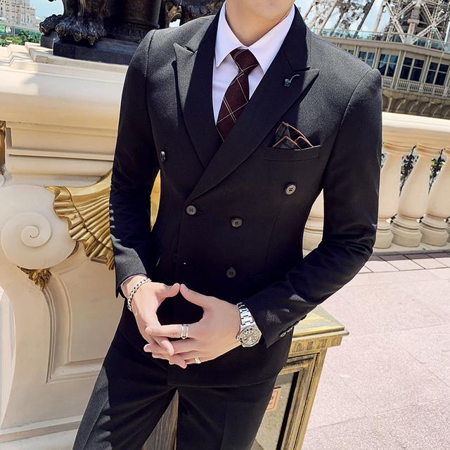 ( Jacket + Vest + Pants ) Fashion Boutique Solid Color Business Mens Double Breasted Suit 3 Sets Groom Wedding Dress Formal Suit