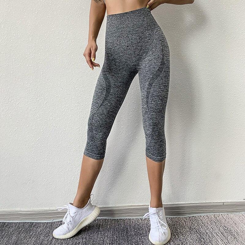 Wmuncc Leggings Sport Women Cropped Yoga Pant Stripe Slim Capris 3/4 Running Trouser Femme Solid Gym Fitness Pant Elastic Tights