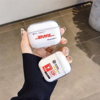 Hot DHL Express 50 Rocznica przezroczysty twardy bezprzewodowy etui na słuchawki Bluetooth dla Airpods pro pokrywa dla air pods 1 2 torba tanie i dobre opinie Torby for airpods pro Silikon
