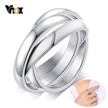 Vnox-Anillos De Compromiso Triple entrelazados para mujer, de acero inoxidable, tres en uno, regalo de San Valentín