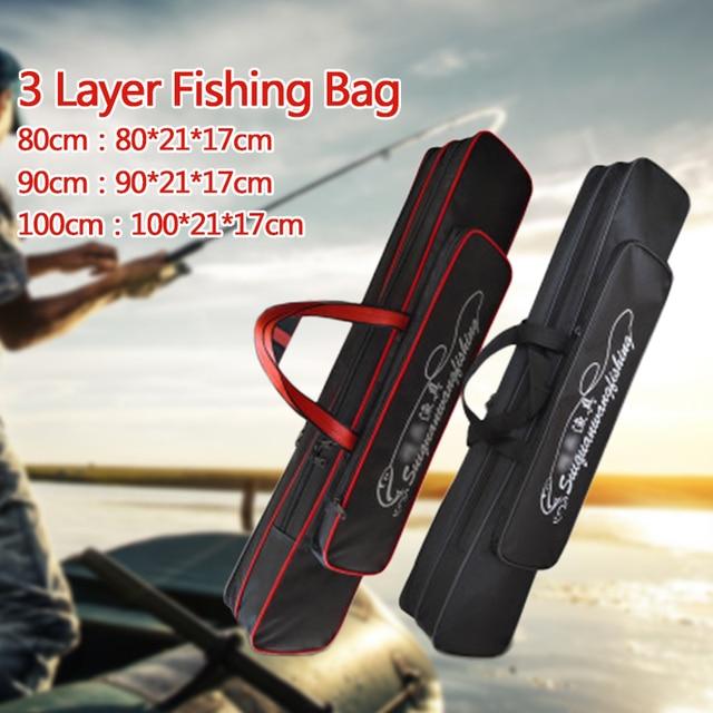 שלוש שכבה לעבות ללבוש עמיד עמיד למים חכת דיג שקית רב תכליתי גדול קיבולת חכת דיג להתמודד עם תיק