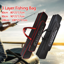 Three layer Thicken Wear resistant Waterproof Fishing Rod Bag Multifunctional Large Capacity Fishing Rod Tackle Bag