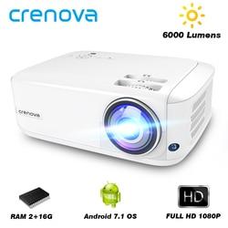 CRENOVA 2019 najnowszy projektor Full HD 1080P Android 7.1OS z WIFI Bluetooth 6000 lumenów rzutnik jasności (2G 16G) w Projektory LCD od Elektronika użytkowa na