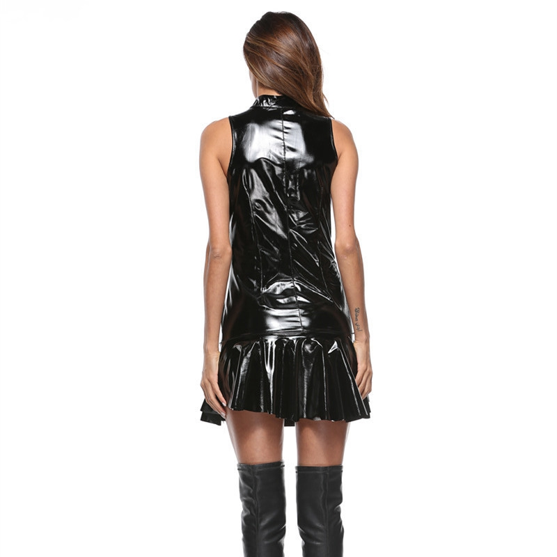 Women Hot Sexy wetlook faux pu leather Lingerie Dress Black pvc Latex Zipper clubwear Catsuit Erotic fetish mini dress Costumes in Babydolls Chemises from Novelty Special Use