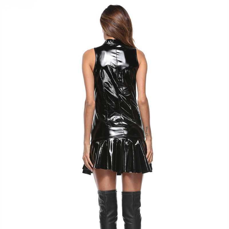 النساء الساخن مثير wetlook فو بو ملابس داخلية نسائية من الجلد اللباس الأسود pvc اللاتكس سستة clubwear Catsuit المثيرة الوثن البسيطة اللباس ازياء