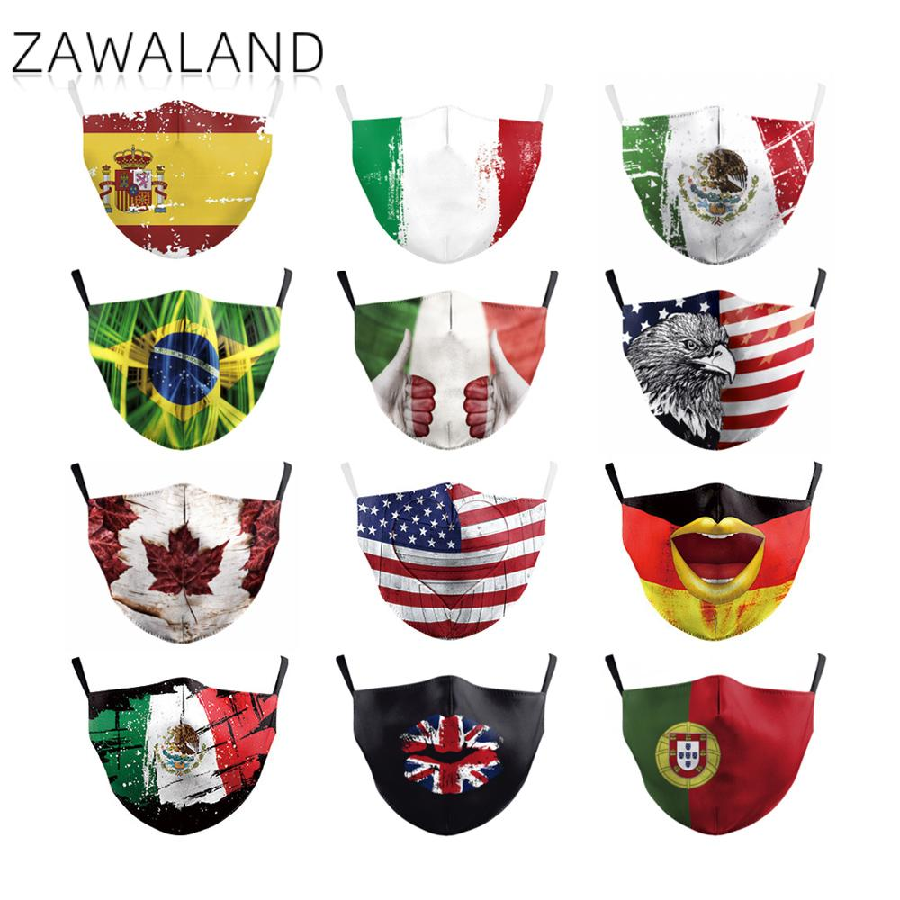 Zawaland Adult Unisex Fashion Mask Forza Italy Spain Flag Print Mask Washable Reusable Protective PM2.5 Mask With Filter