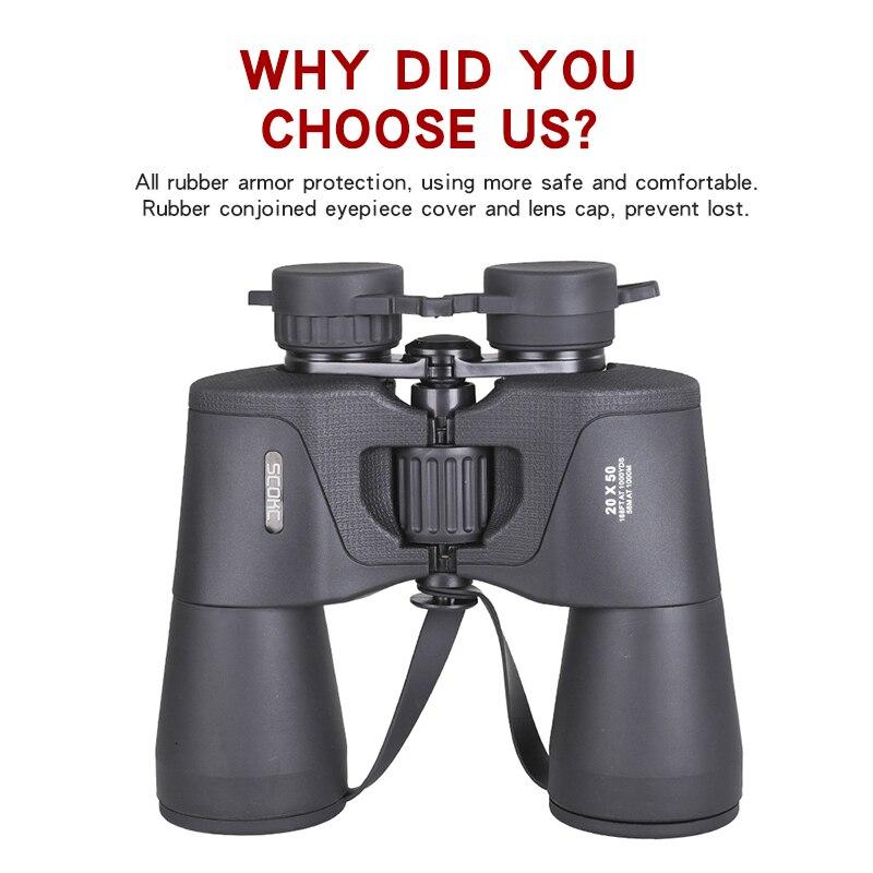 BAK4 Long Powerful Angle  5000m Folding Professional 20x50 Wide Telescope Zoom Range Binoculars