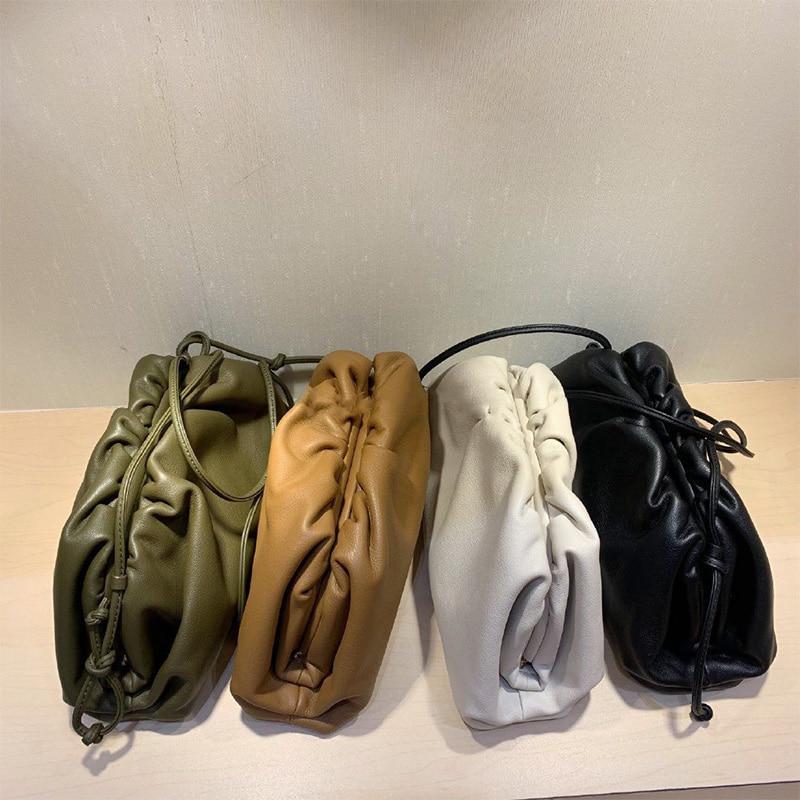 38cmBig Leather Pouch Handbag Women 2019 Soft Hand Purse Fashion Clutch Bag Evening Party Purse Bag Women Large Ruched Cloud Bag