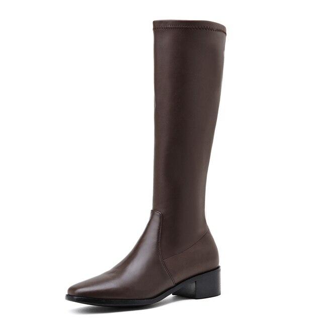 Фото женские эластичные сапоги до колена черные или коричневые из цена