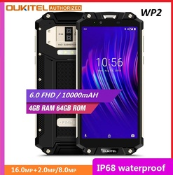 Ударопрочный смартфон OUKITEL WP2, 4 ГБ+64 ГБ, MT6750T восемь ядер, 6-дюймовый дисплей 18:9, 10000 мАч, сканер отпечатков пальцев, водозащита IP68, пылезащищенн...