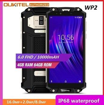 Перейти на Алиэкспресс и купить Ударопрочный смартфон OUKITEL WP2, 4 ГБ+64 ГБ, MT6750T восемь ядер, 6-дюймовый дисплей 18:9, 10000 мАч, сканер отпечатков пальцев, водозащита IP68, пылезащищенн...