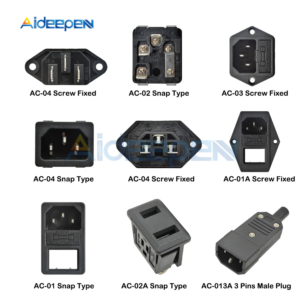 AC-01 AC-01A AC-02 AC-02A AC-03 AC-04 AC-013A IEC320 C14 Electrical AC Socket 250V 10A 3 Pin Male Female Plug Connector Socket