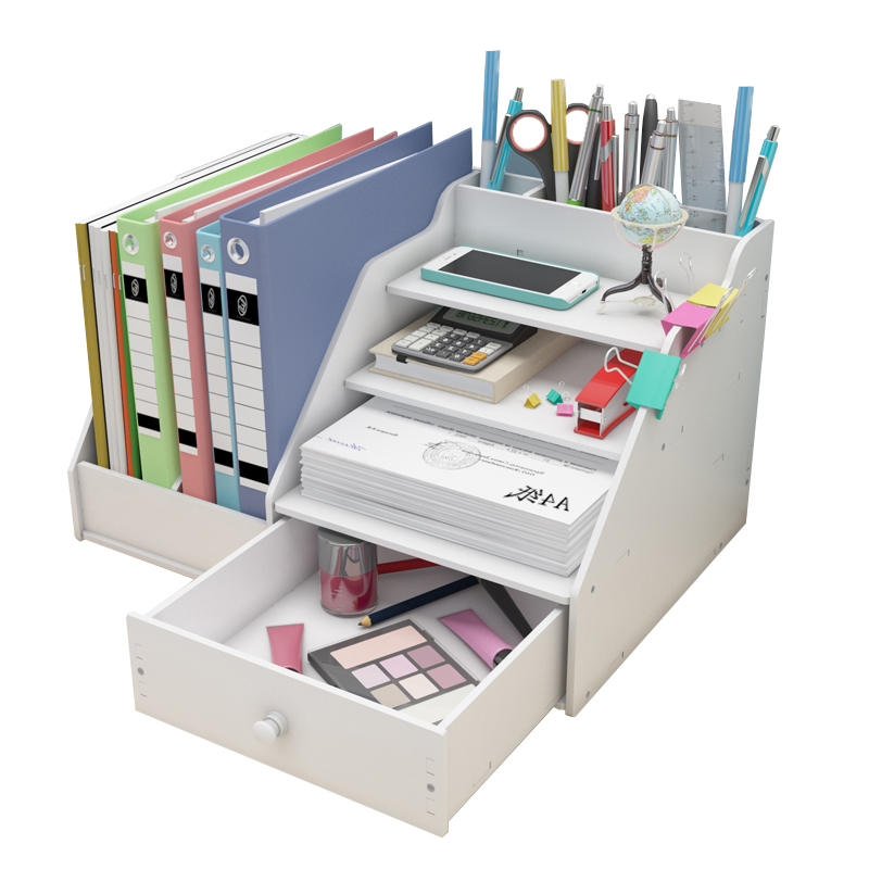 Desk Magazine Organizer Book Magazine Holder Stationery Storage Organizer Multifunctional DIY Storage Box Office School Supplies