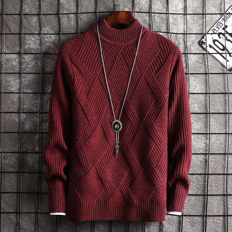Mens Sweaters Wine Red Grey Youth Long Sleeve Casual Men Sweater O-Neck Pullovers New Fashion
