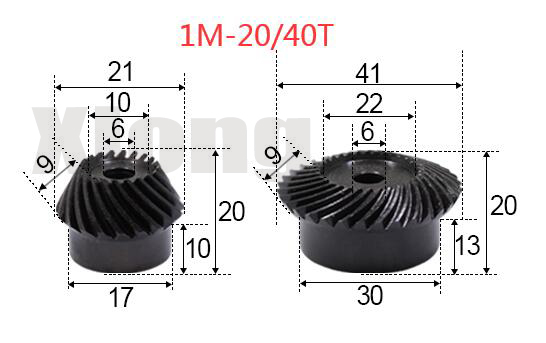 1M-20 / 40Teeths 1: 2 Ration Precision Spiral Bevel Gear Spiral Bevel Gear 0.15g фото