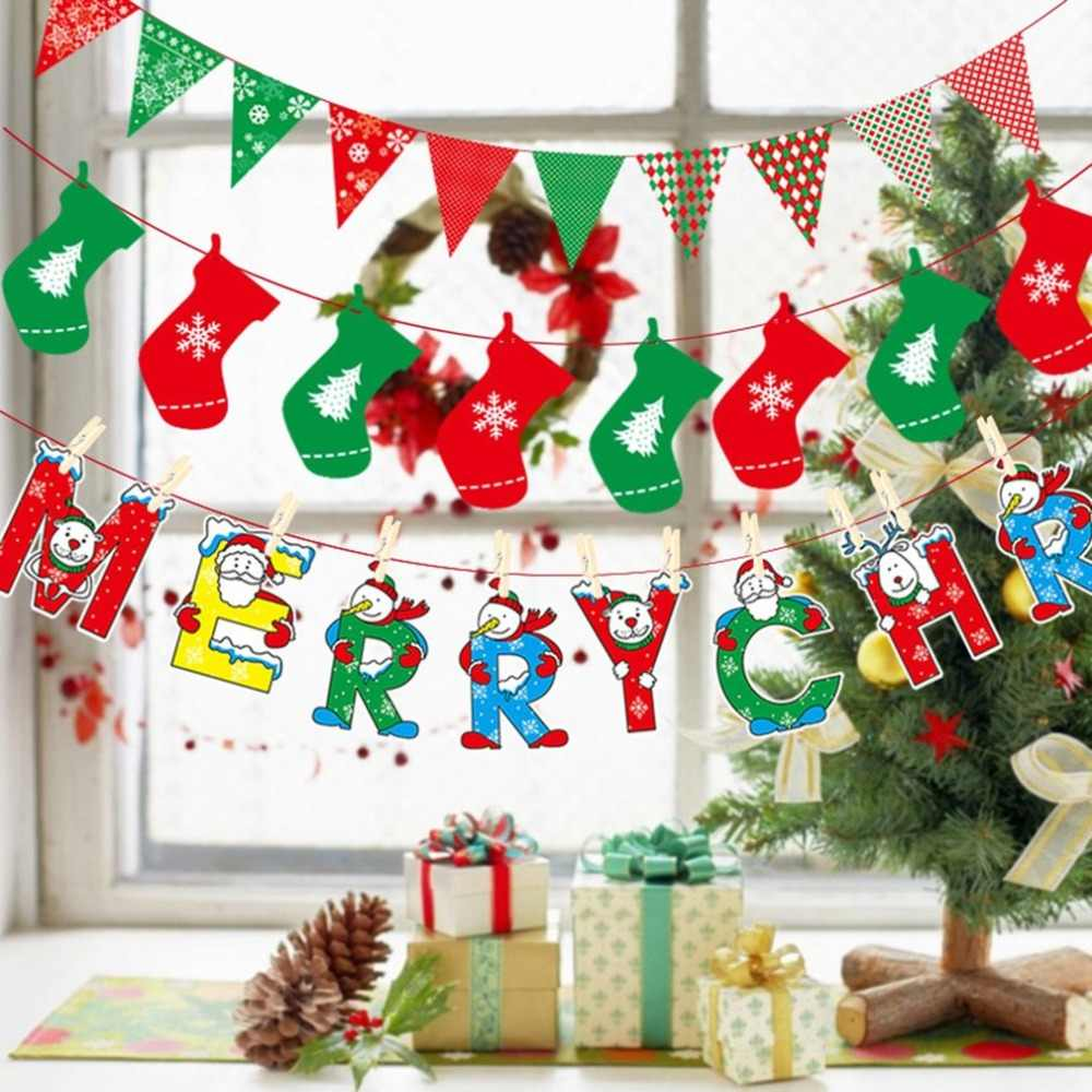 Christmas Decoration Supplies Cartoon Flag Bunting Holiday Scene Layout Christmas Paper Hanging Flag Dropshipping