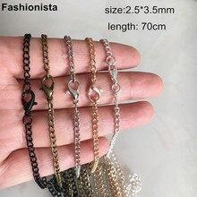 """سلسلة مجوهرات 70 سنتيمتر طويلة (27 1/2 """") جاهزة سلسلة قلادة مع مشبك قفل ، 2.5*3.5 مللي متر القطر ، الفضة/البرونزية/أسود/الذهب"""
