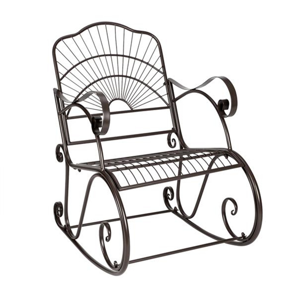 Paint Sun Shape Outdoor Garden Single Iron Art Rocking Chair Black Garden Rocking Chairs Leisure Chairs