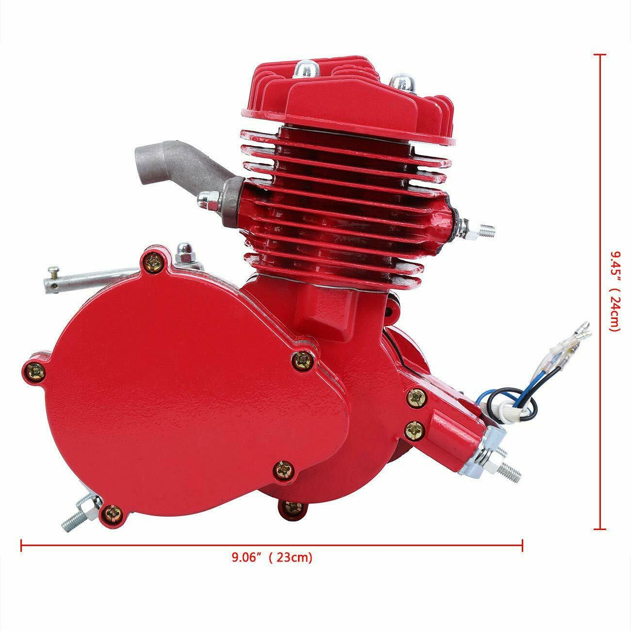 Red, 80CC Samger Samger 2 Stroke Motor Conversion Kit Pedal Cycle Petrol Gas Motorized Engine Kit for Motorized Bike