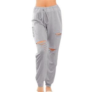 Women Summer Hole Sweatpant Pants 2020 Fashion Street Beach Holiday Leisure Pants Bottoms Wholesale