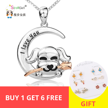 Strollgirl 100% 925 sterling silver cute pet dog rose necklace and pendant ladies fashion jewelry free shipping