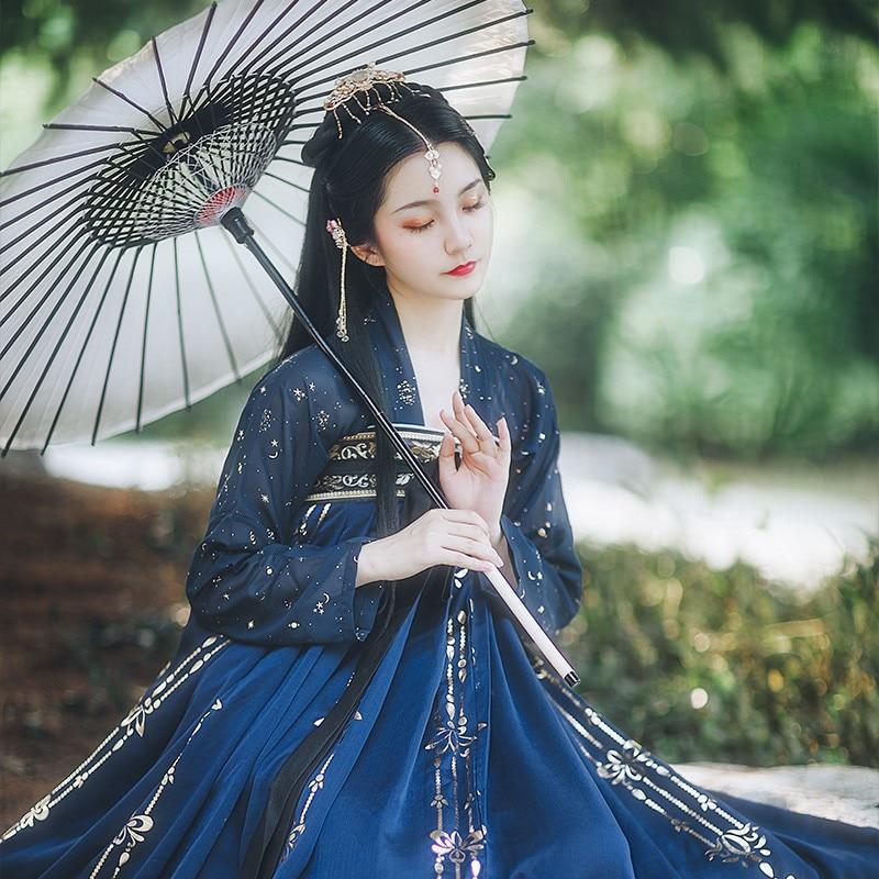 Chinese Hanfu Dress Ancient Costume Traditional Folk Dance Stage Clothing Retro Singers Princess Dress Hanfu Women Modern Hanfu