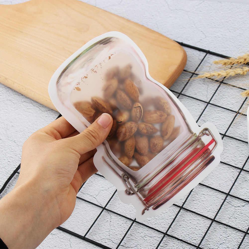 1/5 piezas nueva bolsa de almacenamiento de plástico PE reutilizable tarro de masón cierre a prueba de olores bolsa de cremallera de pie para el hogar las organizaciones