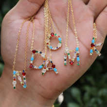 1pcs Trendy Gold Color Letter Pendants CZ Cubic Zirconia 26 Alphabets Slide Necklace Fashion Jewelry Adjustable For Couple Gift