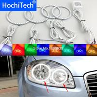 Super bright 7 color RGB LED Angel Eyes Kit with a remote control car styling For Fiat Linea 2007 to 2015