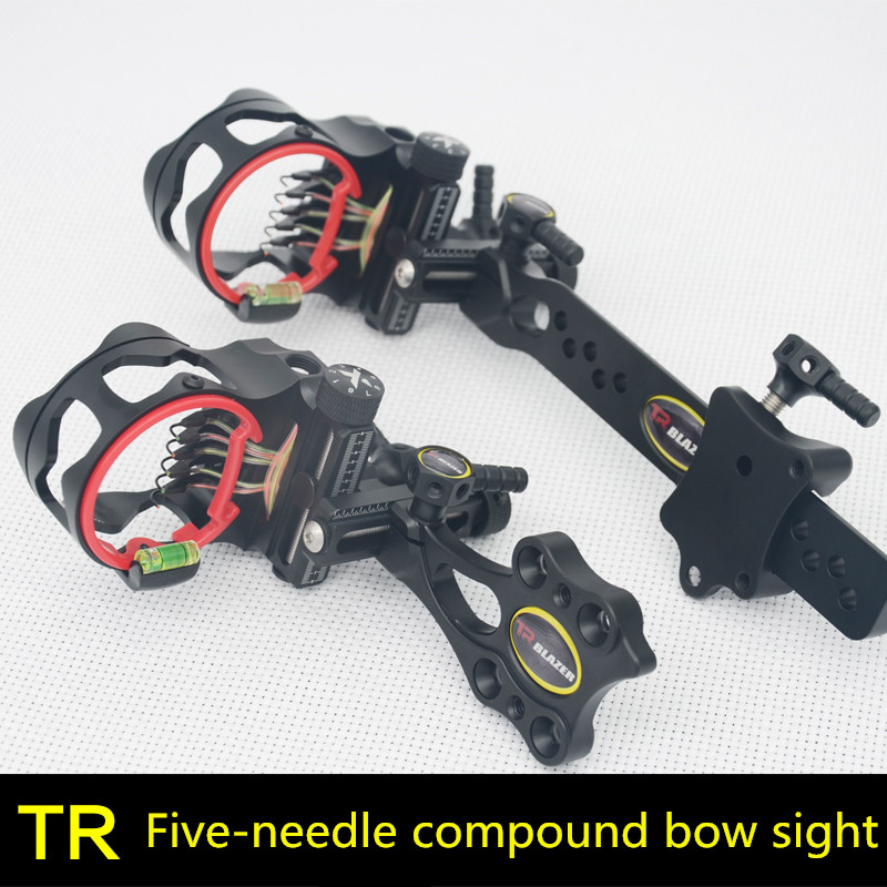 TR Fine-tuning Five-needle Sighting Compound Bow  Quick-tuning Sight Short-bar Long Pole Five-needle Aiming Single-needle Aiming