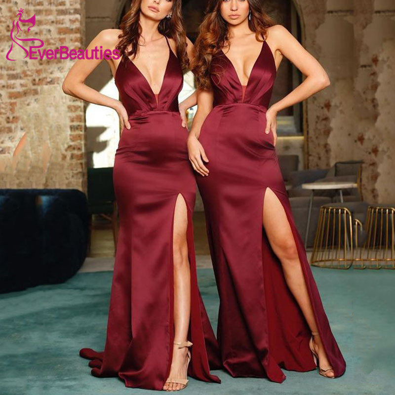 Burgundy Bridesmaid Dresses Long 2020 Mermaid Wedding Guest Dress Party Dress Sexy V-Neck Side Slit Vestido Madrinha