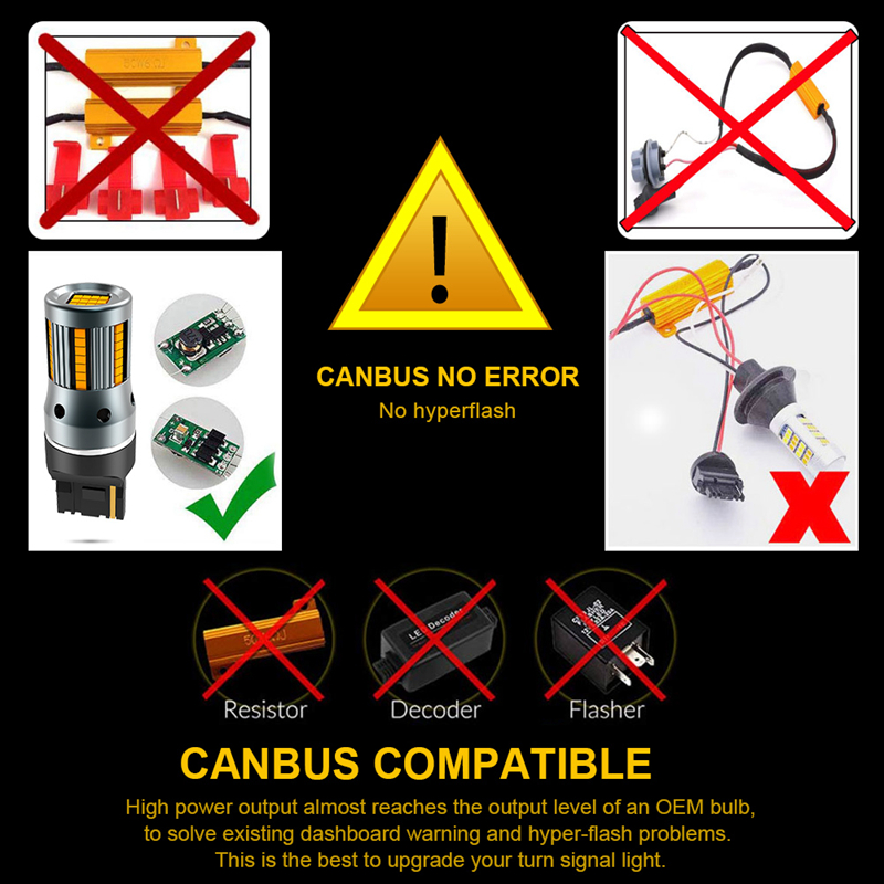 Image 5 - 2Pcs No Error Hyper Flash Turn Signal Lamp T20 7440 W21W LED Bulb 1156 BA15S P21W Canbus Car Lights Amber Yellow 12VSignal Lamp   -