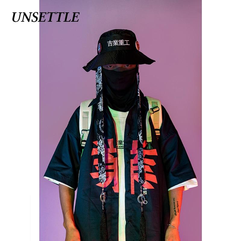 UNSETTLE 2020SS Summer Harajuku Shirts Men/Women Hip Hop Fashion Print Chinese Streetwear Shirt Short Sleeve Tops