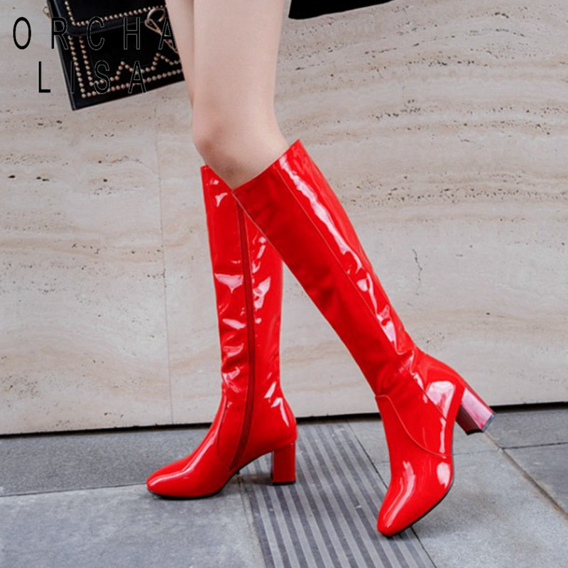 ORCHA LISA Pattent leather knee high boots for women 6cm block heels red white black lady winter leather shoes botte femme 45