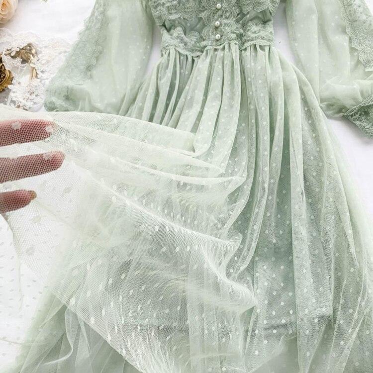 Lace Floral V-Neck Long Sleeve Polka Dot Dress 25