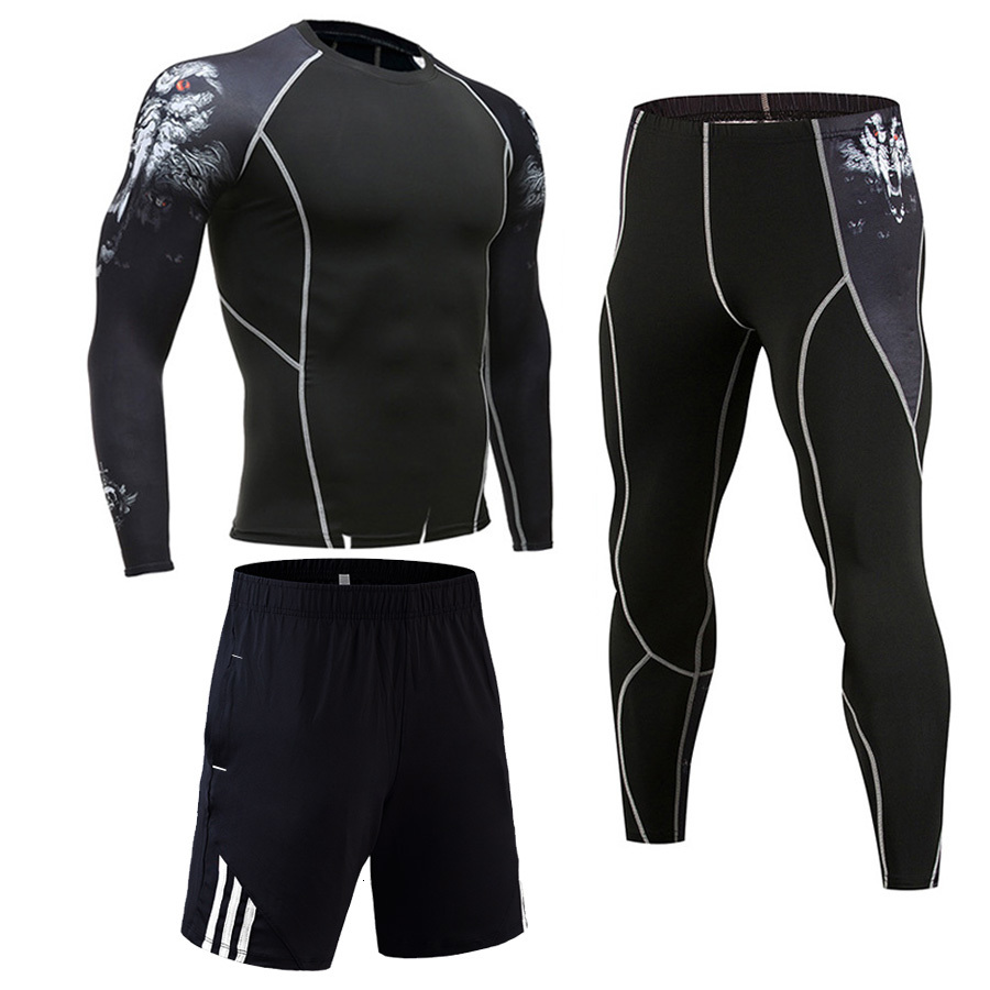 3 Pcs/Set  Sports Suit Men Compression Clothing Quick Dry Running Sportswear Rashgard MMA Male Kit Gym Training Set Long Sleeve