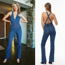 Облегающий джинсовый комбинезон, джинсы, комбинезон для женщин, с открытой спиной, синий, длинные ноги, элегантный сексуальный клубный комбинезон, без рукавов, вечерние 0217