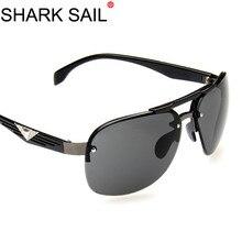 SHARK SAIL Aviation Metail Frame Quality Oversized Spring Leg Alloy Men Sunglasses Brand Design Pilot Male Sun Glasses Driving