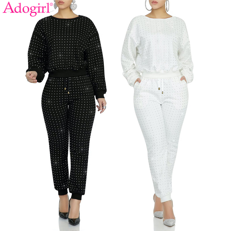 Adogirl 2020 Spring New Diamonds Two Piece Set O Neck Long Sleeve Pullover Sweatshirt Casual Pants Women Tracksuit Outfits
